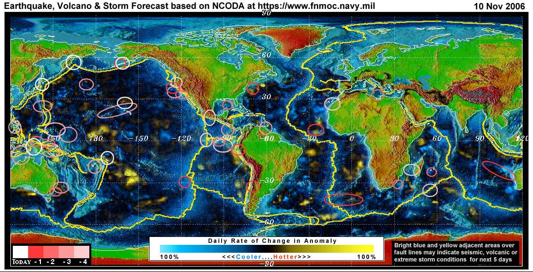 Expected Global Earthquake, Volcanic or